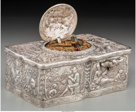 Lot: 74010: A German Silver Singing Bird Automaton Box, late, Lot Number: 74010, Starting Bid: $400, Auctioneer: Heritage Auctions, Auction: April 20 Fine Silver & Objects of Vertu #5297, Date: April 20th, 2017 EEST