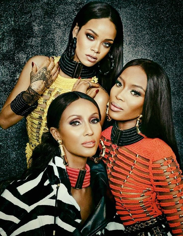 Rihanna age 27, a famous young singer from Barbados, with Iman age 60, a successful Somalian Super model and business woman, along with 45 year old, Naomie Campbell a British Jamaican Supermodel and successful business woman and reality fashion star. All three are renowned, confident and beautiful Black women!