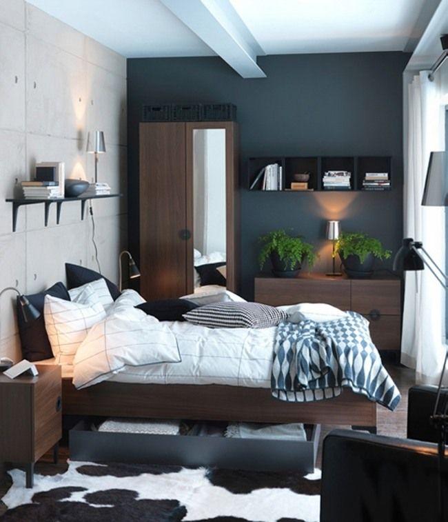 petite chambre à coucher avec un ensemble de meubles en bois sombre, étagère murale pratique et plantes vertes comme accent
