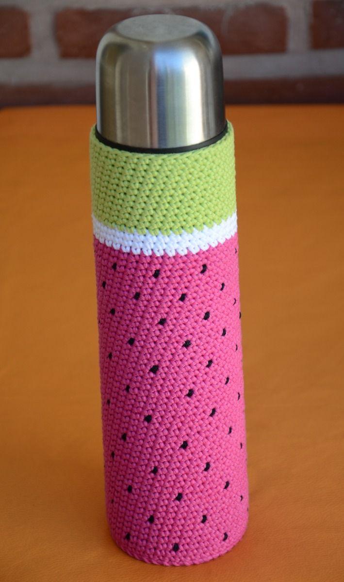funda tejida a crochet con base termo bala de 1 litro mate