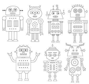 **robots** Embroidery patterns - good for a boys quilt