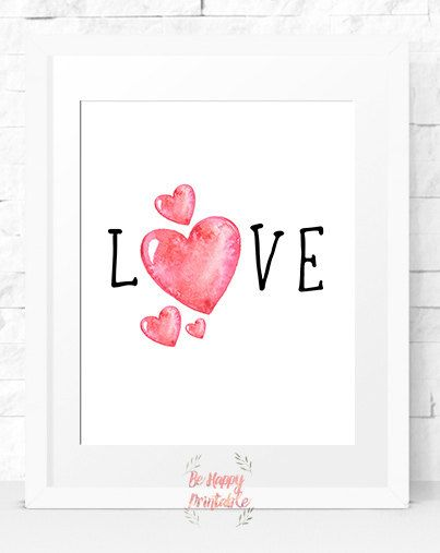 Love watercolour Instant download Illustration prints Home Decor Print Printable Decor wall art Nursery for her Printable Art love shape