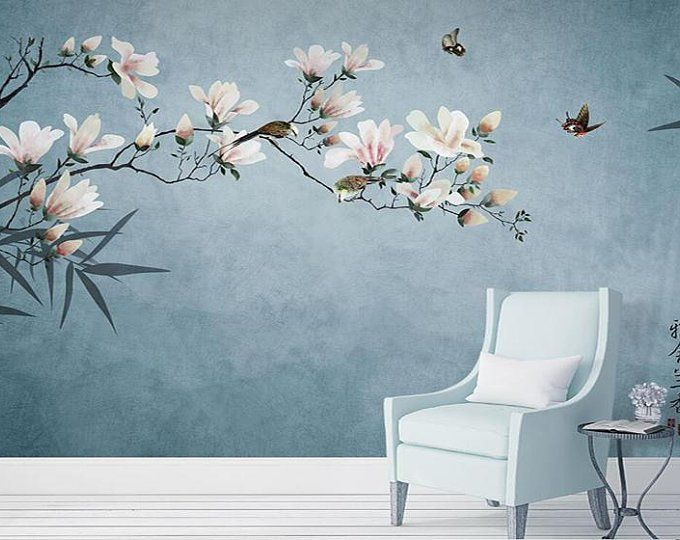Blue Color Magnolia Flowers Wallpaper Wall Murals Birds Flowers Tree Hand Painting Classic Vintage Wall Decal Wall Stickers Wandtattoos Tapeten Wandtapete