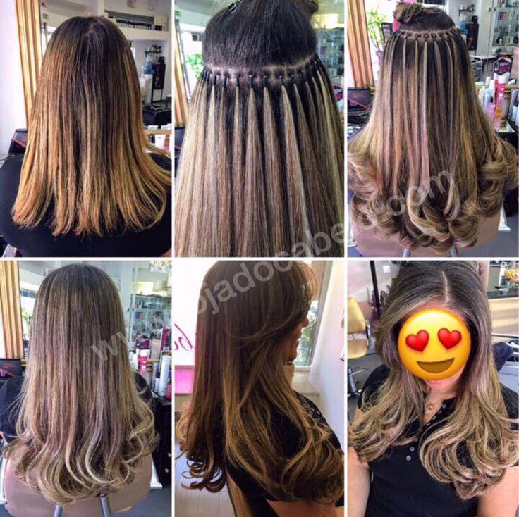 300 gramas cabelo liso colorido -  Cores #4, #6, #22 e #27 - Método de aplicação: Nó Italiano - https://lojadocabelo.com