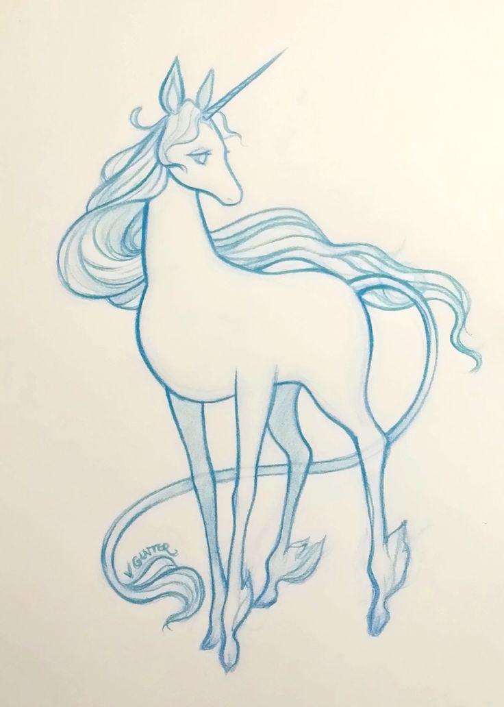 The Last Unicorn sketch Virginia Gunter || www.gunterdoesart.com || facebook.com/ArtistVirginiaGunter || instagram.com/gunterdoesart ||