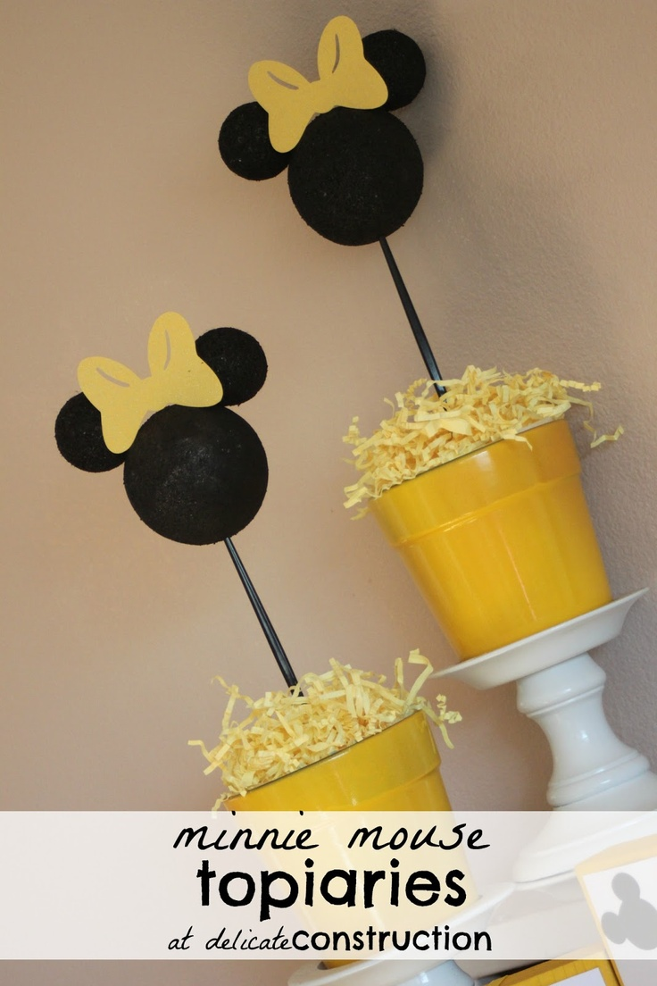 delicateCONSTRUCTION: Minnie Mouse Topiaries {Minnie Birthday Party}