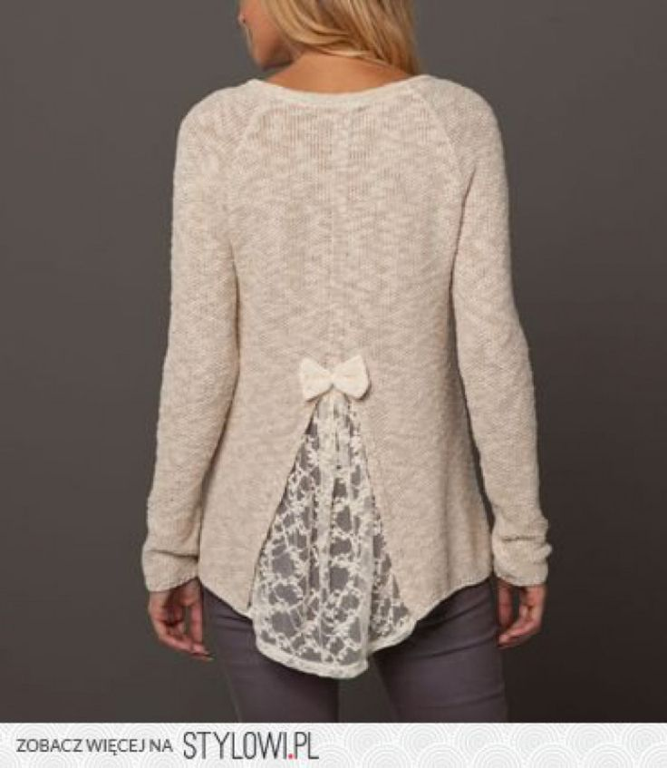 Easy diy idea - cut back of a sweater that's too small and insert lace. Cutting…