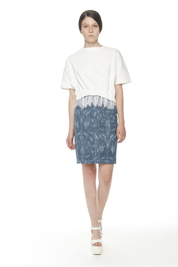 #ERAKLE #SS16 white sweatshirt with lace & denim skirt