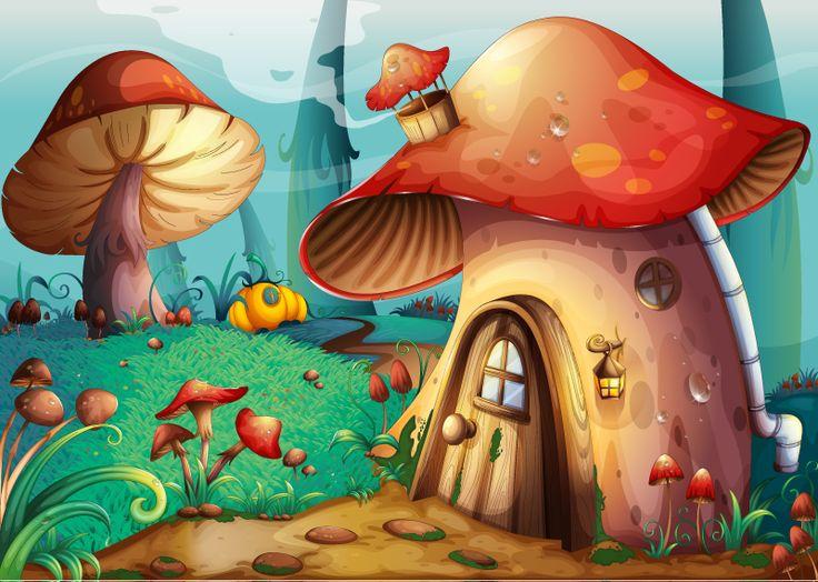 Cartoon Mushroom Drawings | preview, keywords: mushroom, mushroom house, forest, flowers, cartoon ...