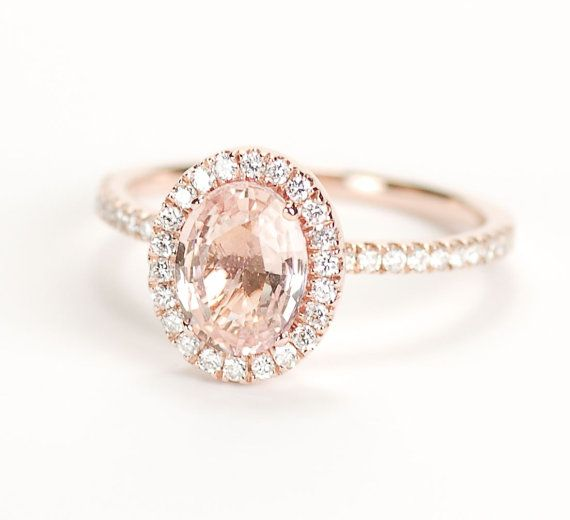 Certified Peach Pink Champagne Sapphire Diamond Halo Engagement Ring 14K Rose Gold