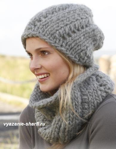 женская шапка и шарф воротник, связанные спицами