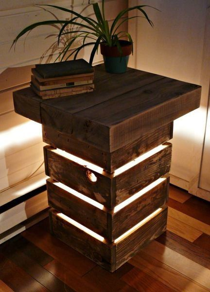Rustic Reclaimed Wood Display Table with Light | Playa Del Carmen Rustic Industrial Lamps & Furniture