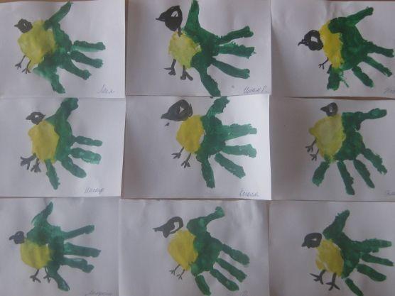 Конспект занятия по рисованию оттиском ладошки в средней группе «Синичка» Фото