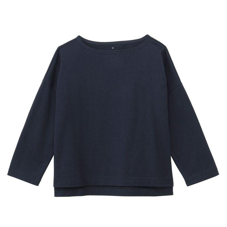 オーガニックコットン太番手ドロップショルダー七分袖Tシャツ 婦人S・ネイビー | 無印良品ネットストア