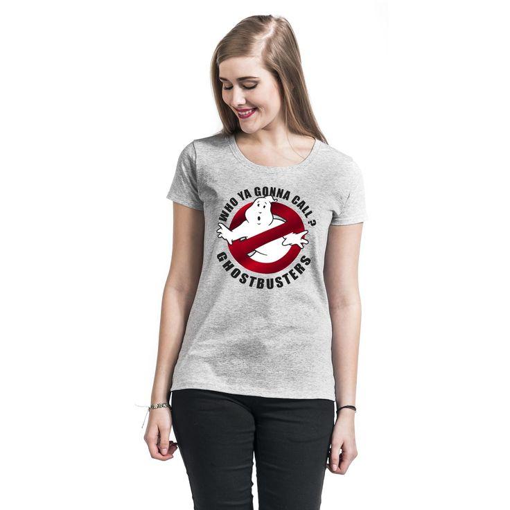 "Maglietta donna a maniche corte grigia ""Metal Logo"" di #Ghostbusters."