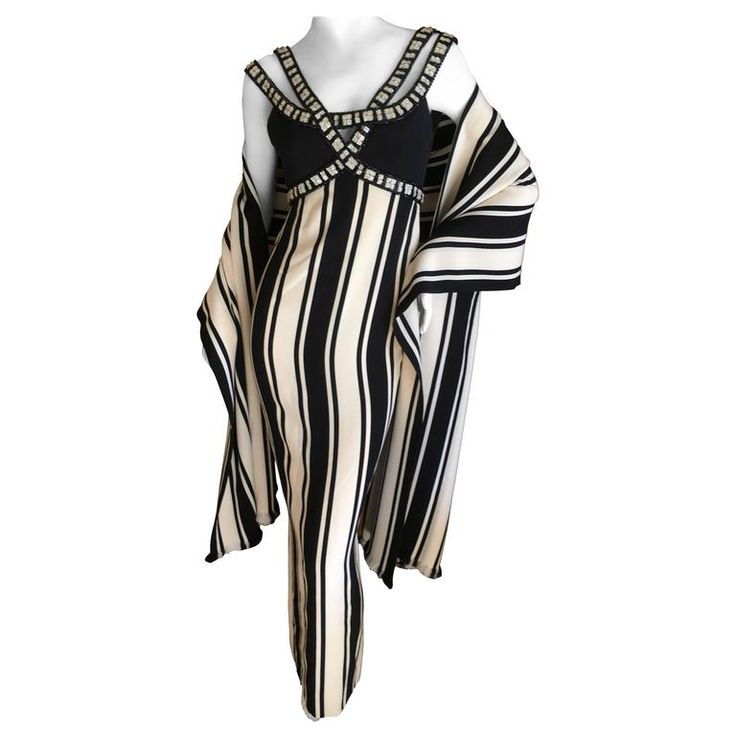 Galanos Mod Jeweled Stripe Evening Dress with Fringe Shawl   From a collection of rare vintage evening dresses and gowns at https://www.1stdibs.com/fashion/clothing/evening-dresses/