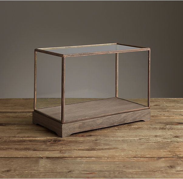 "Specimen Display Case Rectangle Solid glass and fir wood Grey finish Glass top lifts off for easy access Contents not included Dimensions Small: 14½""W x 7¼"" D x 9¾""H Medium: 16""W x 8¾""D x 11¼""H Large: 17½""W x 10½""D x 13""H $115-139"