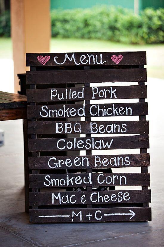 wood pallet wedding menu DIY / http://www.himisspuff.com/rustic-wedding-signs-ideas/12/
