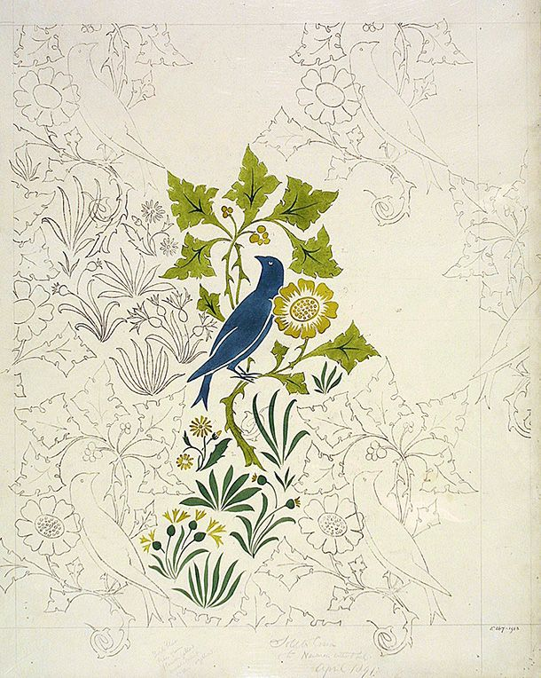 Birds and plants design for a wallpaper and textile, C.F.A. Voysey | V&A   http://www.vam.ac.uk/users/node/3970