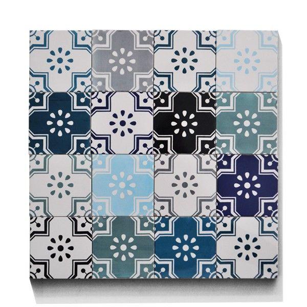 Backsplash 16 porcelain tiles hand printed in copenhagen designtiles from arttiles stellas got