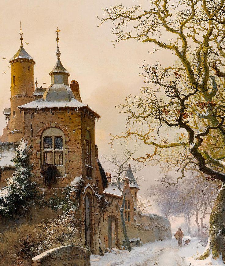 "Fredrik Marinus Kruseman ""Winter landscape with skaters near a castle"" (detail modified) c.1857"