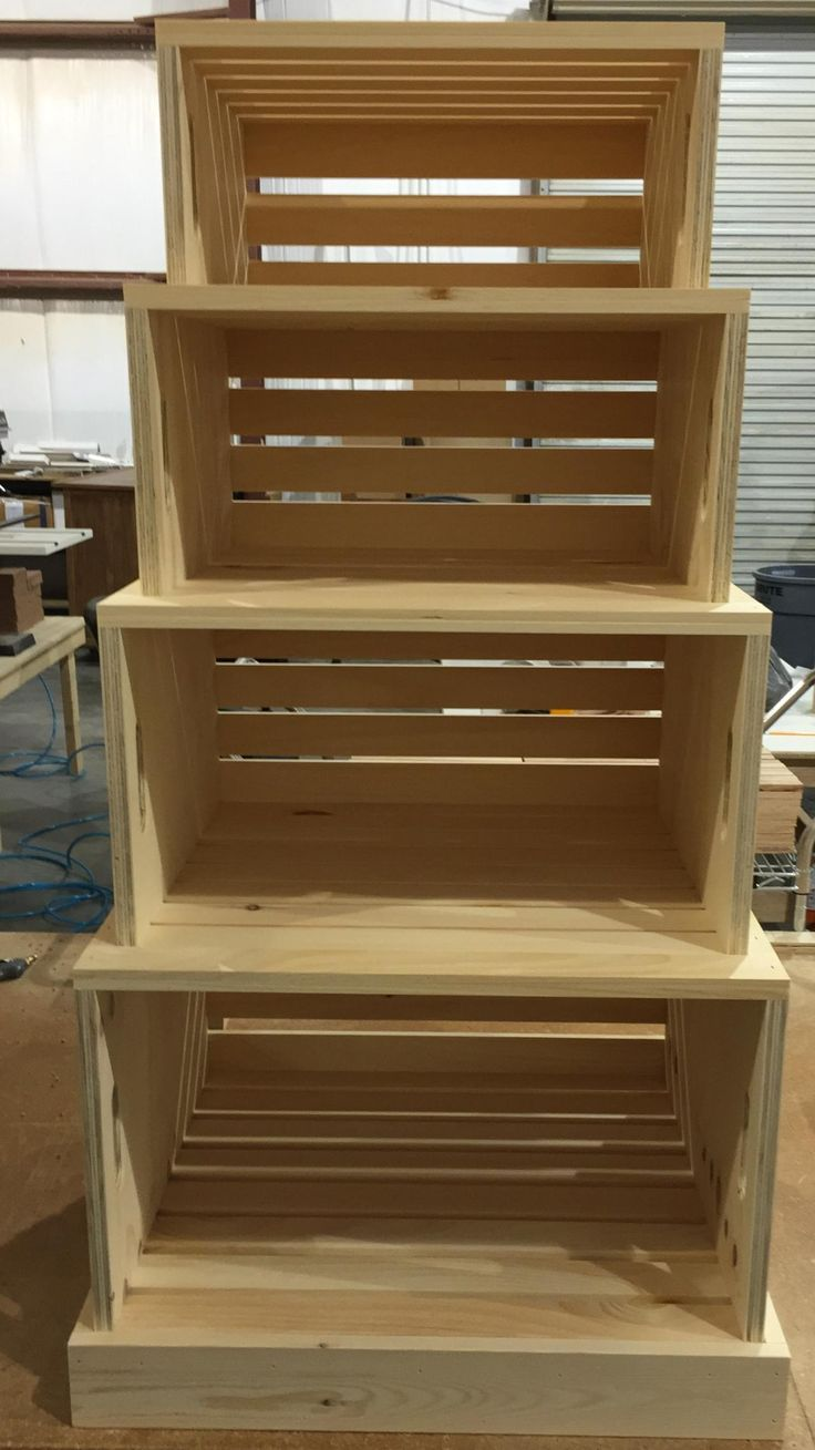 rustic wood stacking crate grocery display unit. Portable nesting crates. Would be awesome as a retail display or for home storage.