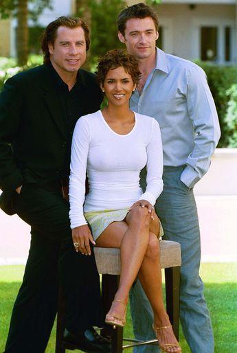 Hugh Jackman, Halle Berry and John Travolta at Swordfish Photo Call in London, 2001.