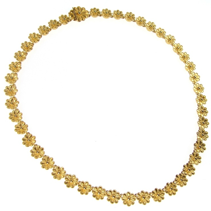 Necklace Flowers Gold 18k