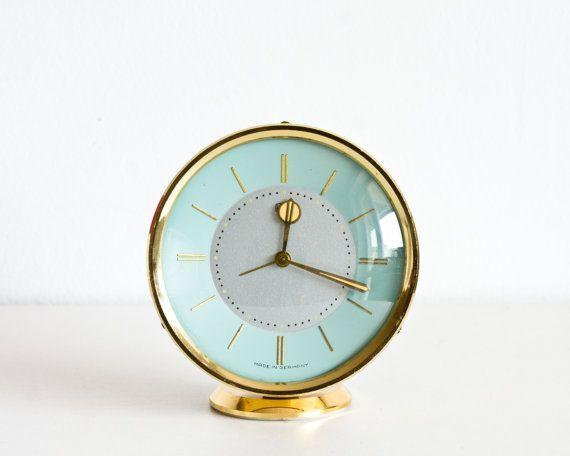 Vintage German Alarm Clock, UMF Ruhla Desk Clock, Gold and Mint Blue, Rustic Office Decor, rain ohtteam