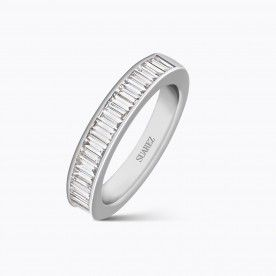 White gold half wedding band with baguette-cut white diamonds - Solitary and alliances