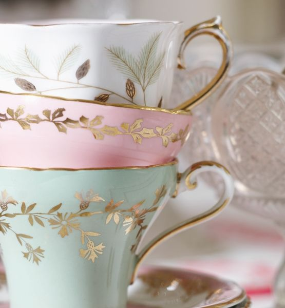 love the soft colors of these teacups