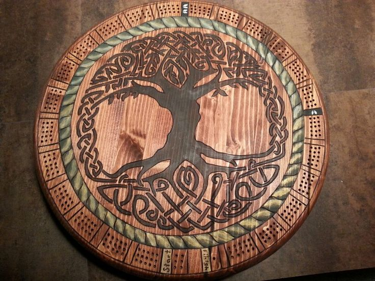 Celtic Tree of Life. Lazy Susan cribbage board.