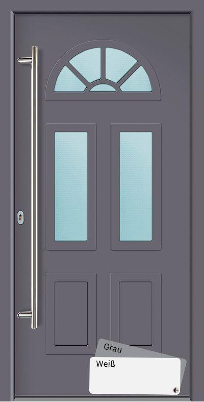 Die   Akuri Eingangstür   ist eine wohlproportionierte Aluminium Haustür mit einem flächenbündigen Türblatt und einer schönen Ornament Isolierglas Verglasung. Wenn Sie sich für diese Aluminiumtür entscheiden, kaufen Sie eine Alu Tür mit...