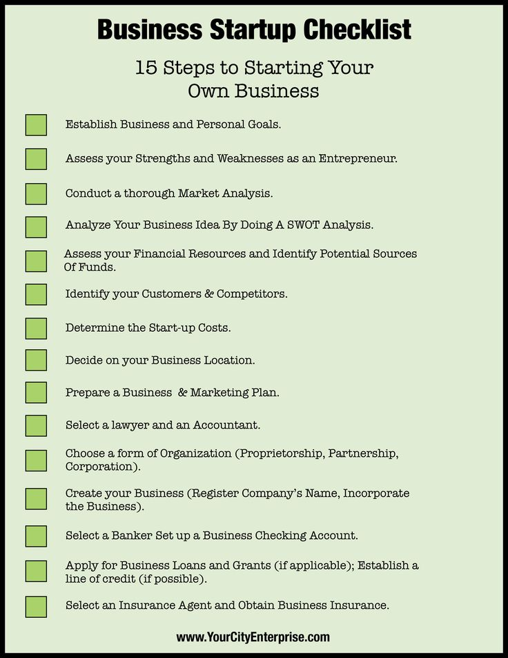 Checklist - 15 Steps to Starting Your Own Business. http://www.yourcityenterprise.com