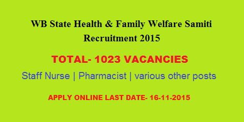 WB State Health & Family Welfare Samiti Recruitment 2015- Apply for 1023 vacancies