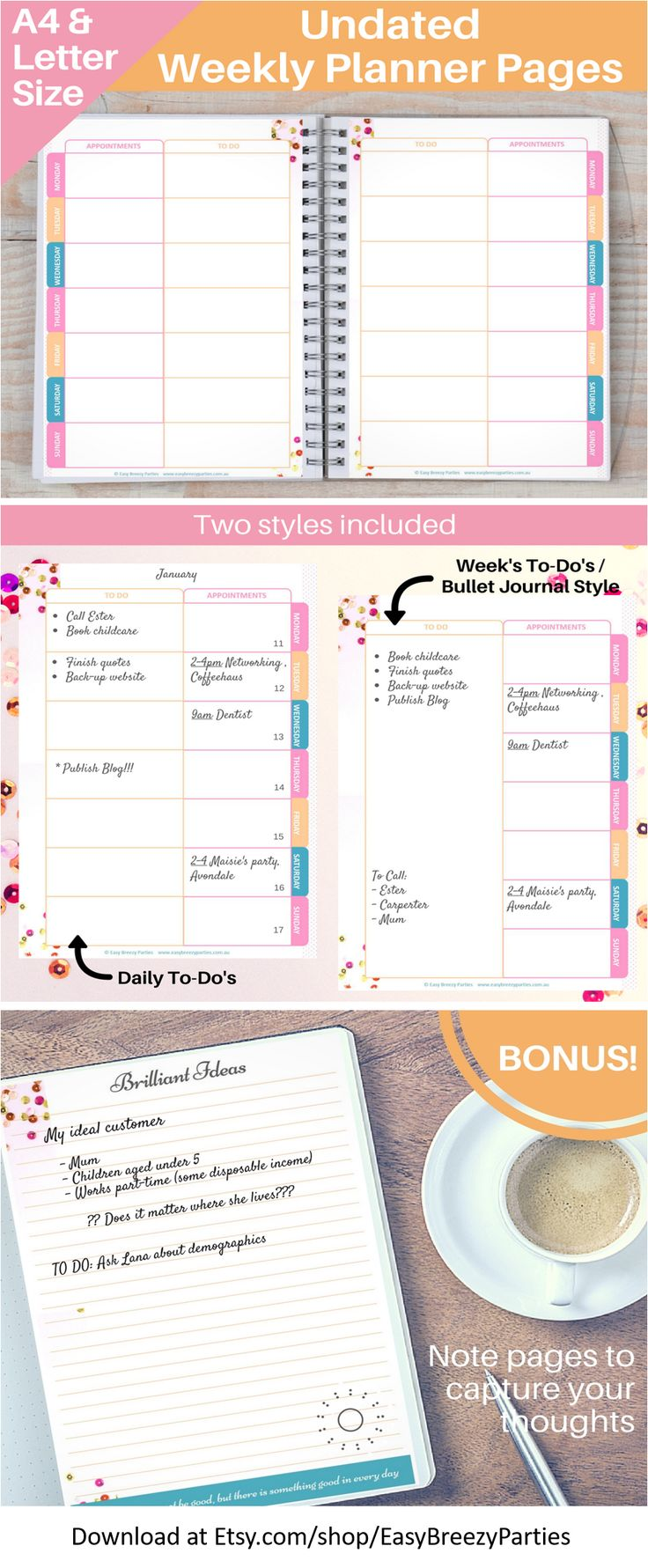 Printable undated weekly planner with two versions to choose. Includes bonus note pages with inspiration quotes.