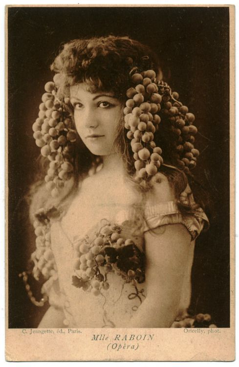 "Mademoiselle Raboin, opera singer.  I found this photo on multiple blogs and all of them seemed to think her name was ""Mille"" or ""Melle"".  Just an FYI: Mlle is the abbreviation for mademoiselle. :-D"