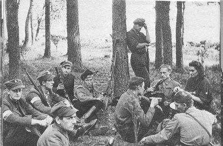 Members of the Polish Home Army resting in a forest