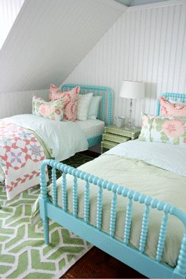 Perfect Place for Naptime. I don't know who's room this would be, but I love the soft colors.