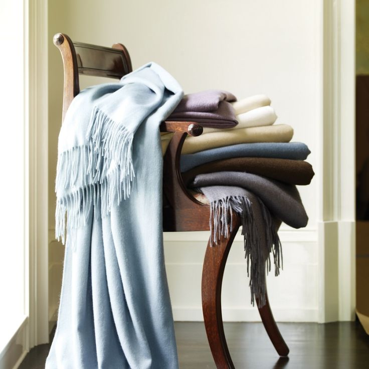 There's nothing like cashmere: light, supremely soft, oh-so-cozy. The SFERRA Dorsey cashmere throw comes in a great array of colors.