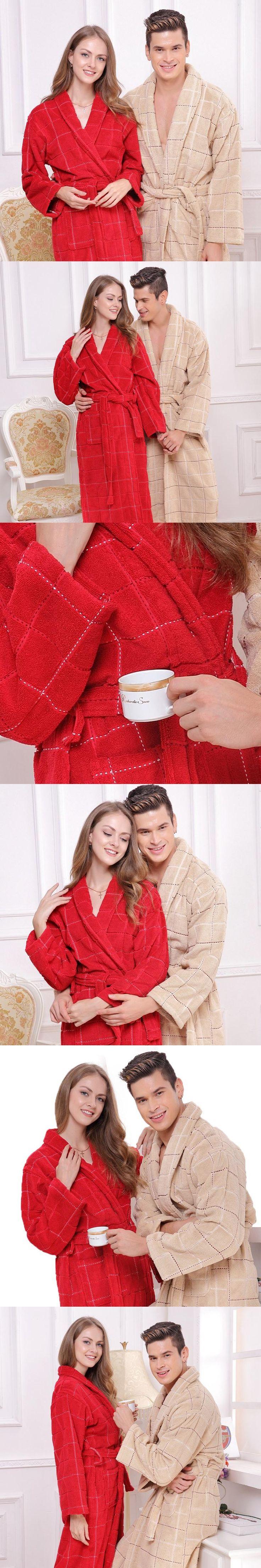 Cotton bathrobe men plus size XXL pajamas women sleepwear nightgown thicken long soft towel fleece loves autumn winer red khaki