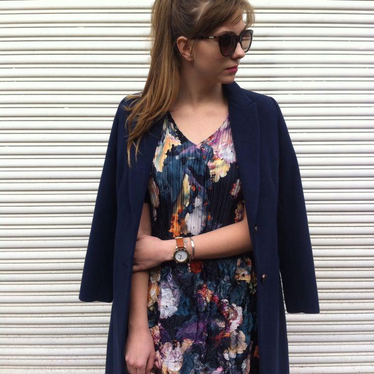 #Marden dark floral 3Dpleat dress #dress #floral #indigoleaf classic coat navy