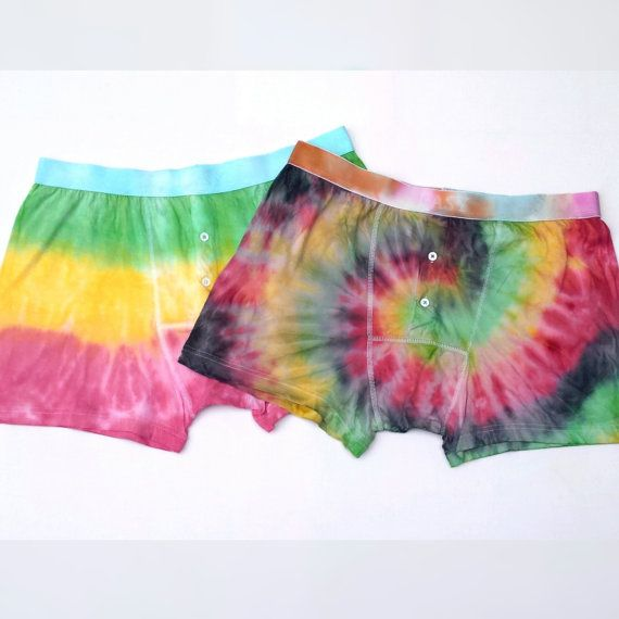 Mens Boxers Tie Dye Rasta Shorts Set of Two ALL SIZES AVAILABLE Mens Briefs Festival Clothing Hippie Gift Man Hippie Clothing Stoner Gift