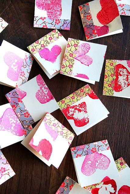 Potato Stamp, Washi Tape Valentine's Day cards