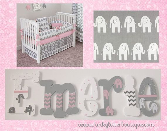 Pink And Gray Chevron Ele Elephant Hand Painted Wooden Wall Letters Nursery Art