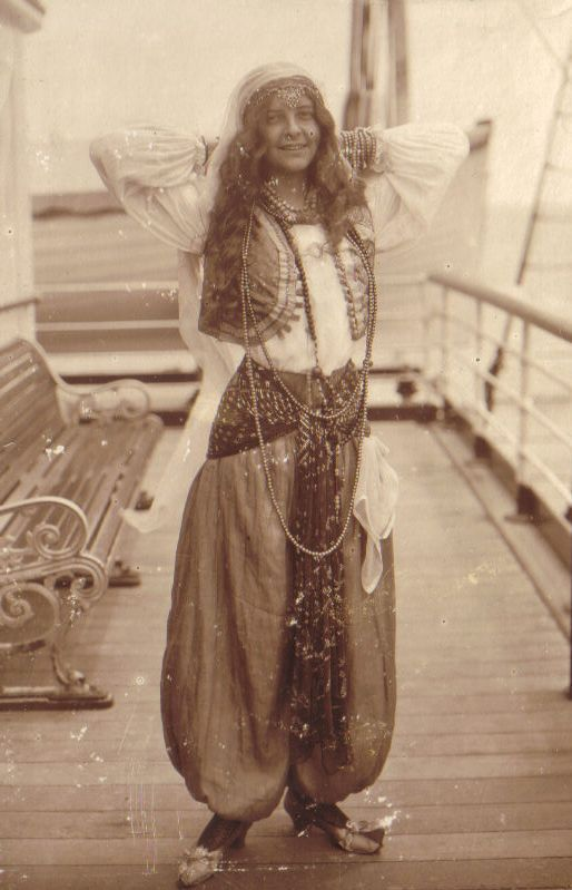 Gwen Bisset at fancy dress party on board ship ( London to the Cape ) early 1920s