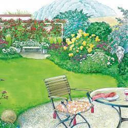 Ružová záhrada s pergolou prepletených