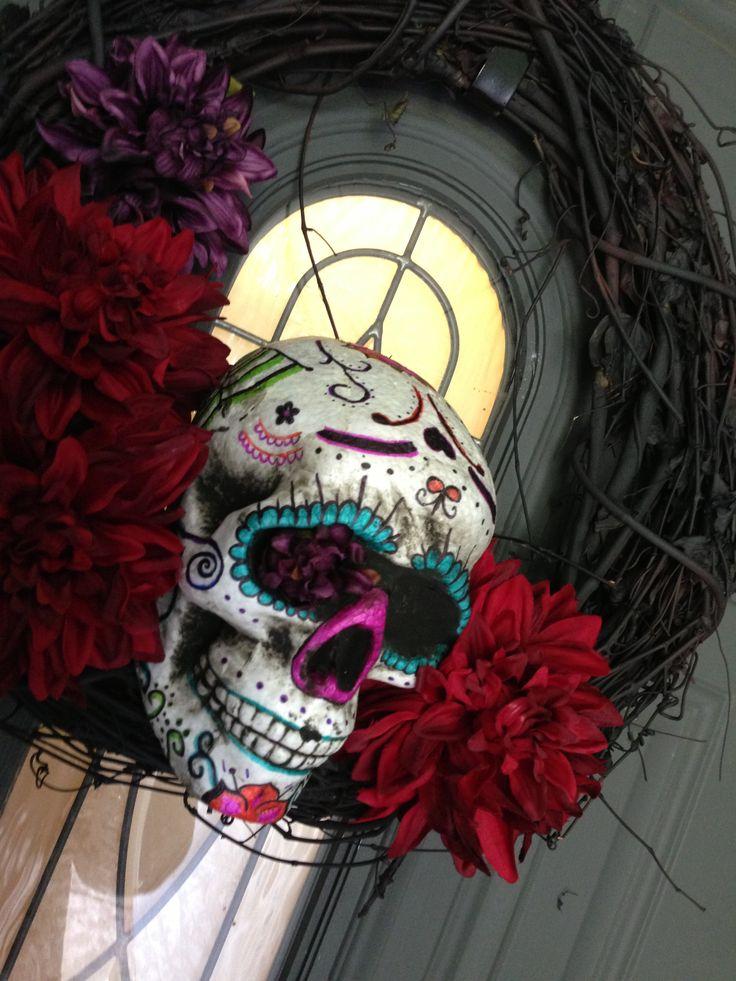 Dia de Los muertos - sugar skull wreath | wreath ideas ...