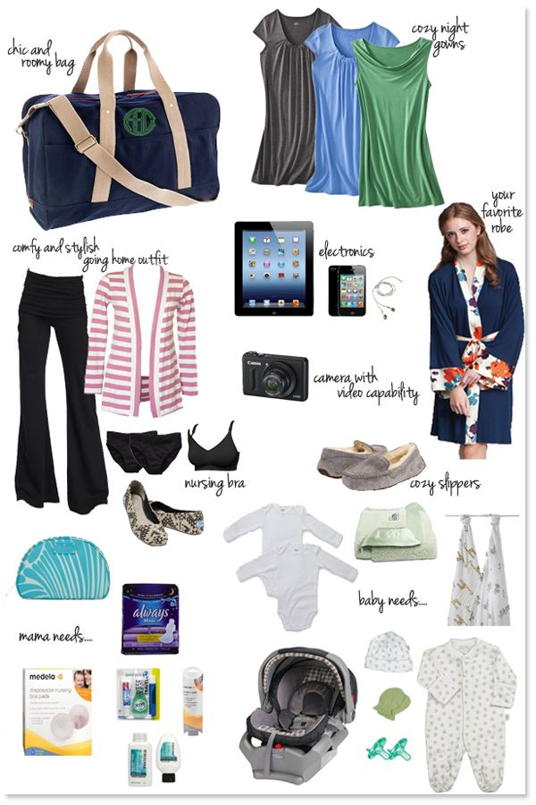 Stumped on what to put in your hospital bag? Check out our list! ps, you should have it packed by 34-36 weeks!
