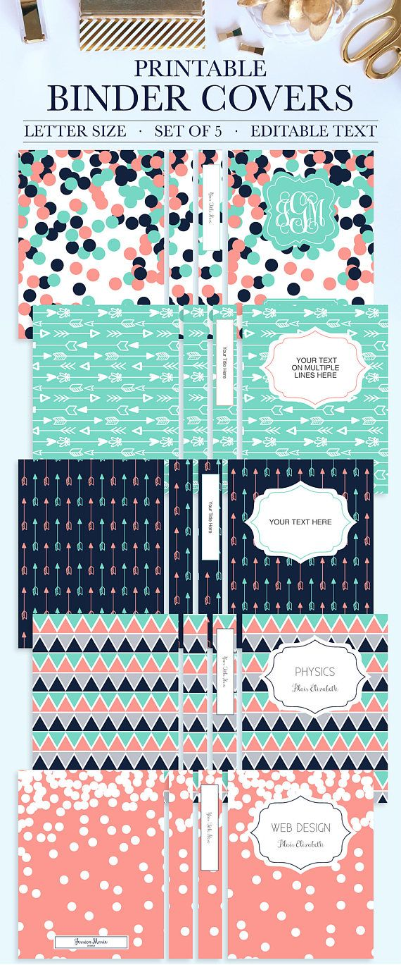 Set of 5 Printable Binder Covers for School, Home, or Work (Arrows Coral, #BC1002-RT)  Why settle for plain binders when you can turn your school binders, office binders, and work binders into an accessory that is uniquely you! Printable Binder Covers are a perfect way to add style and personality to an otherwise boring binder. This Binder Cover Set comes with 5 Front Covers, 5 Back Covers, and Spines in five sizes: 1 inch, 1.5 inches, 2 inches, 3 inches, and 4 inches.  The Front Covers and…